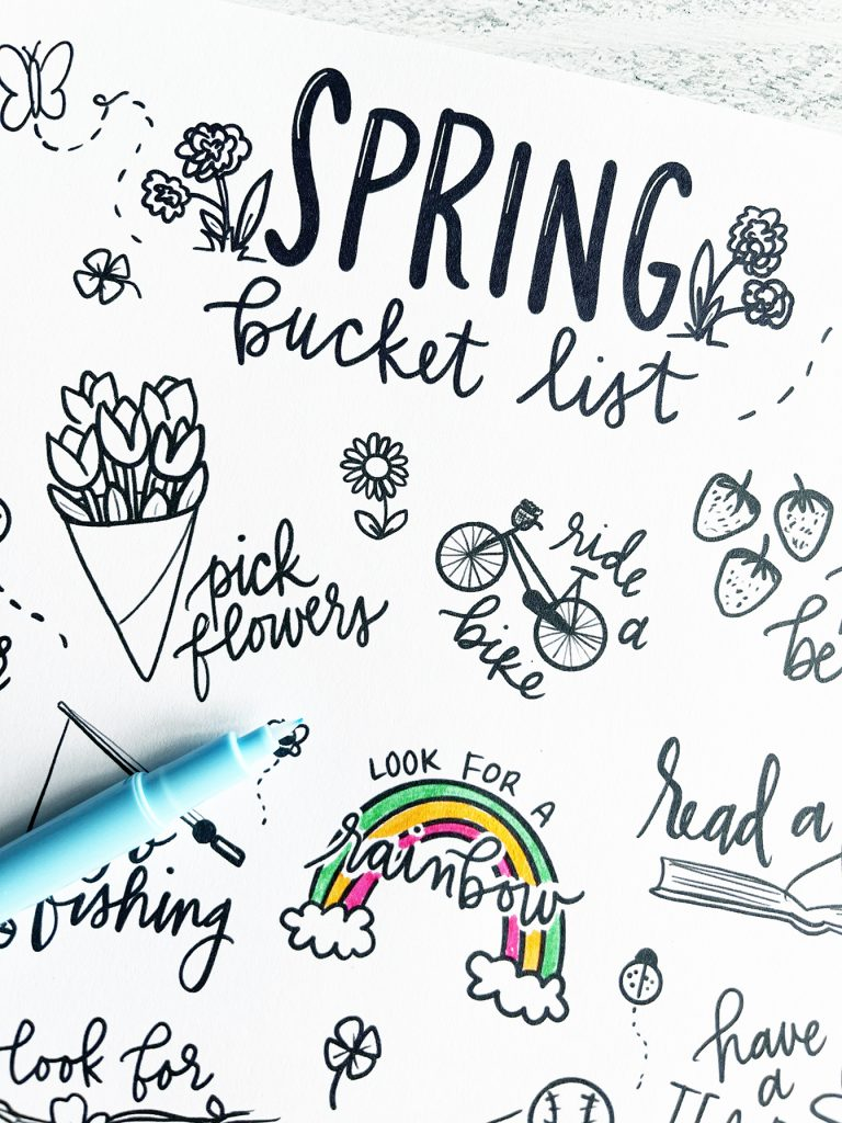 Spring Bucket List Coloring Page