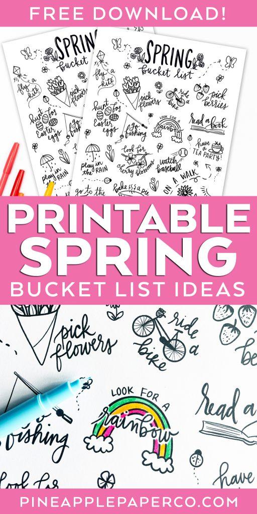 Printable Spring Bucket List Ideas