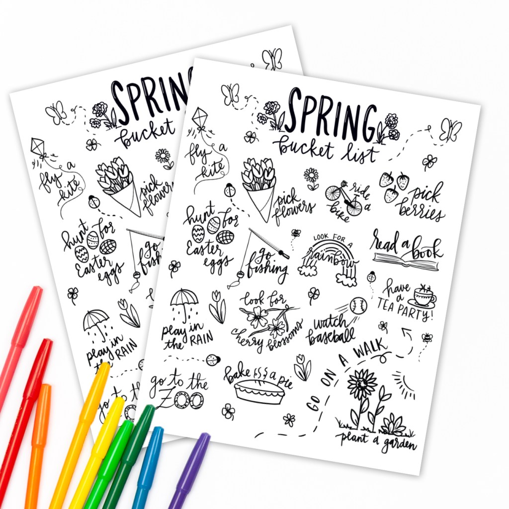 Spring Bucket List Printable Coloring Page with Markers