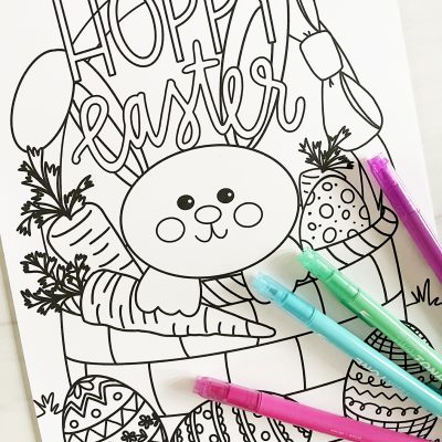 Hoppy Easter Printable Coloring Sheet with Markers