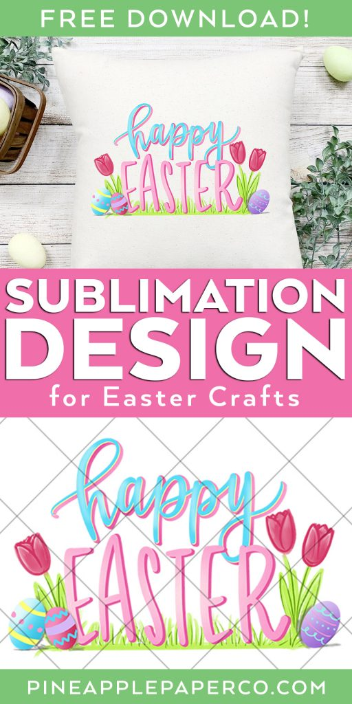Happy Easter Graphic for Subllimaton and Printable Decor