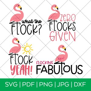 Flamingo Flock SVG File Bundle with Grid