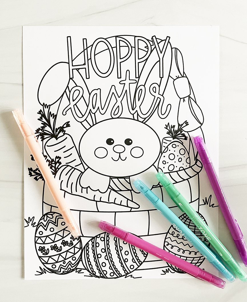 Hoppy Easter Printable Coloring Sheet with Pastel Towbow Markers