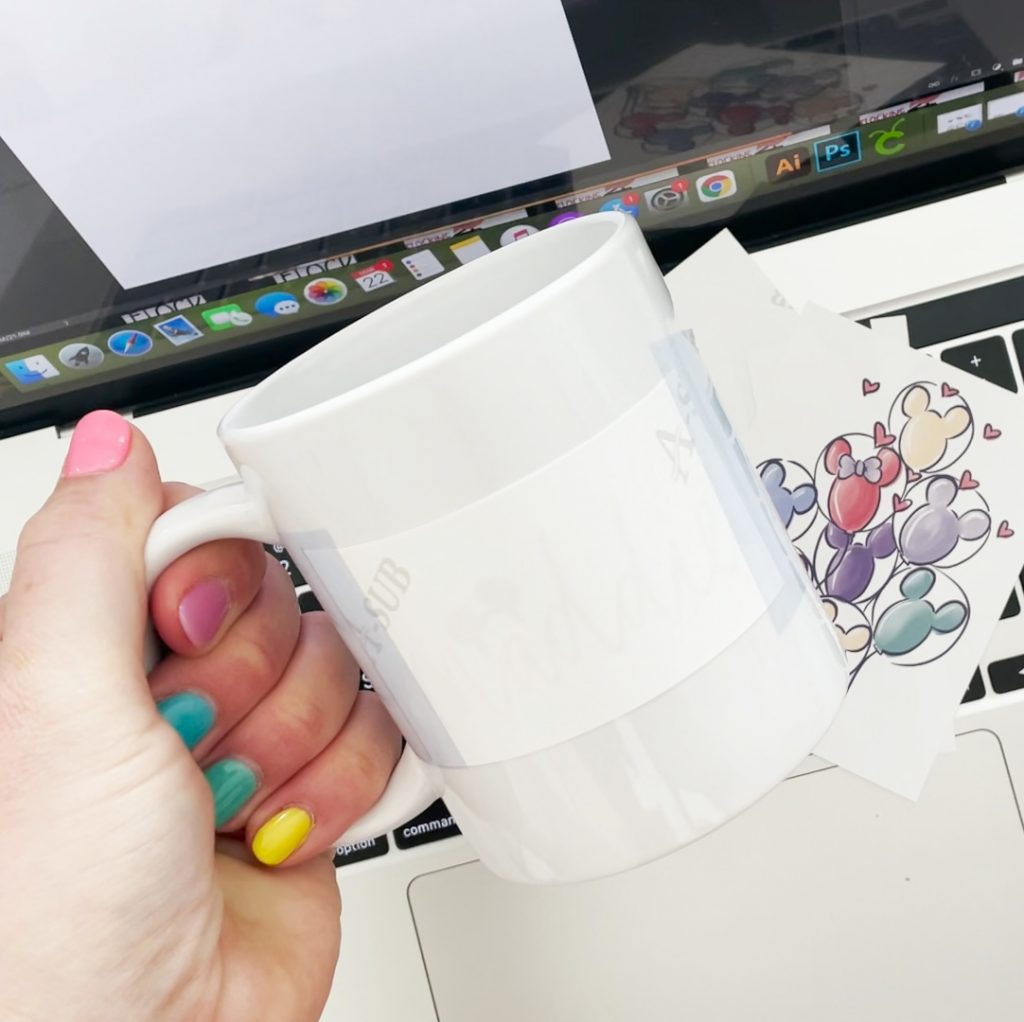 Blank Cricut Infusible Ink Sublimation Mug with Sublimation Transfer Printed at Home