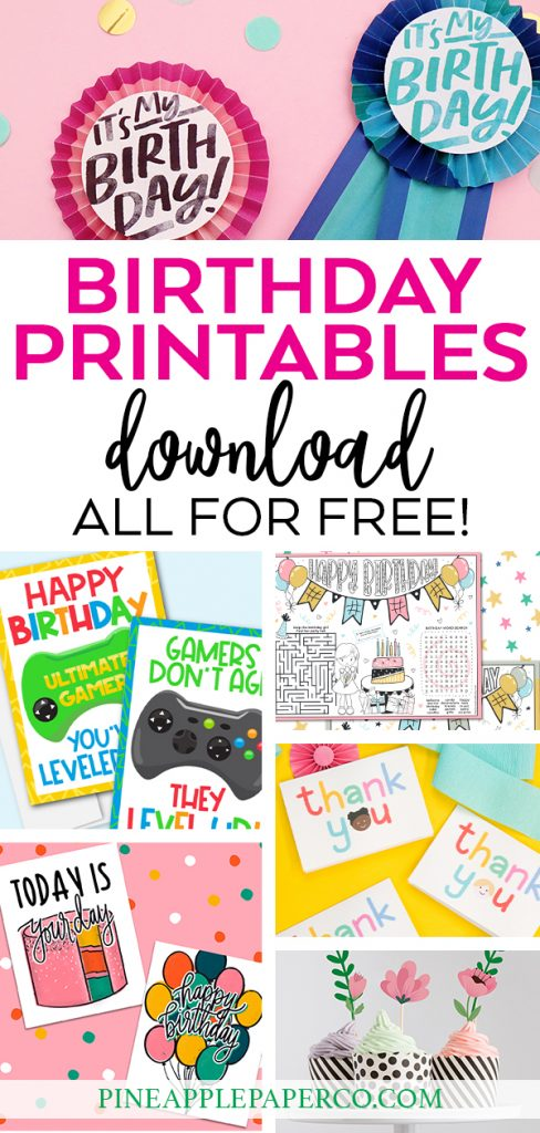 Free Printable Birthday Cards Hand Drawn by Pineapple Paper Co.