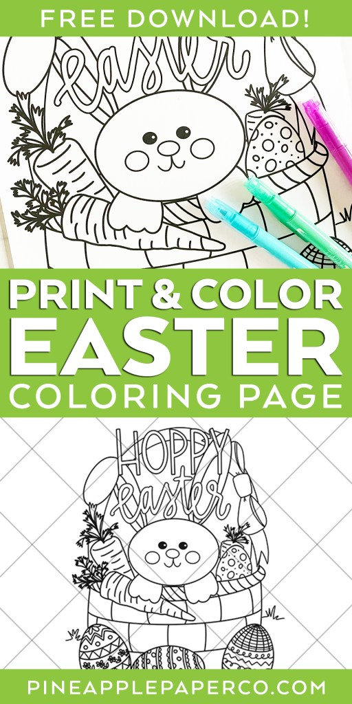 Free Hoppy Easter Printable Coloring Sheet at Pineapple Paper Co.