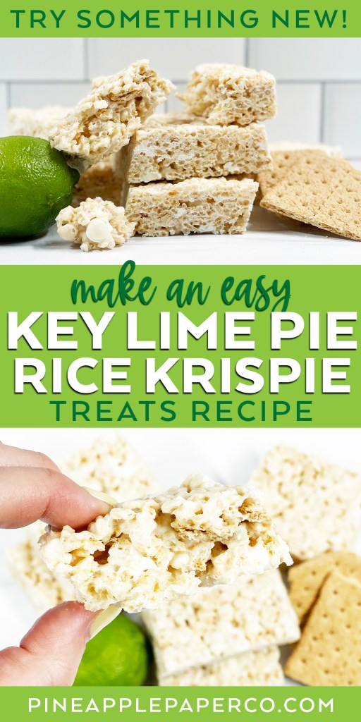 Easy Key Lime Pie Rice Krispie Treats with Lime, Graham Crackers, and White Chocolate