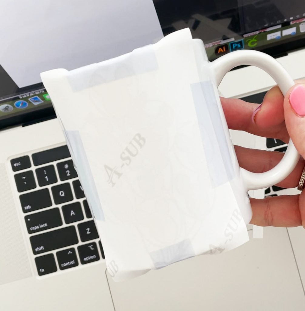 Blank Sublimation Mug with Sublimation Paper and Heat Resistant Tape