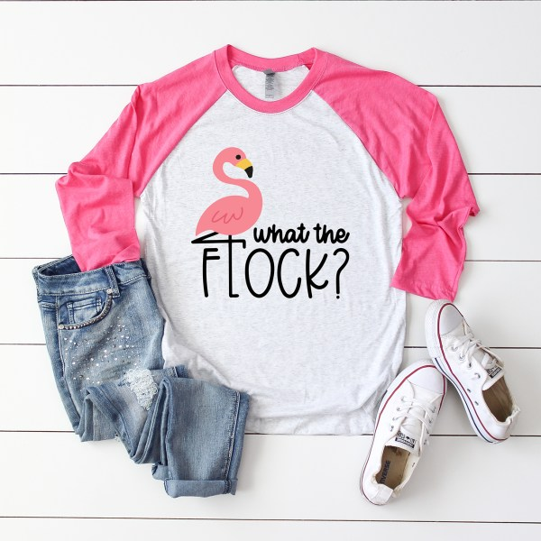 What the Flock Flamingo Pink Raglan Shirt