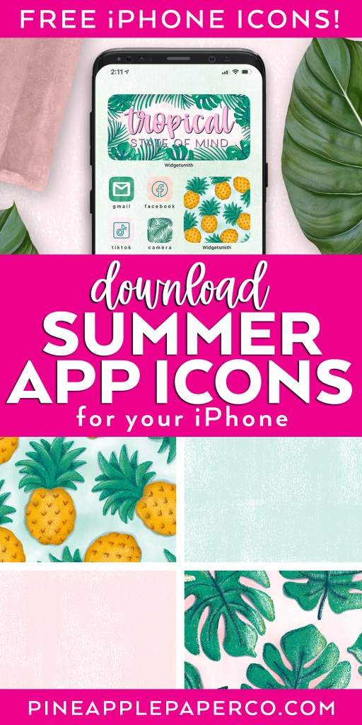 Download Summer App Icons for your iphone with Iphone with tropical icons and 4 sample icons