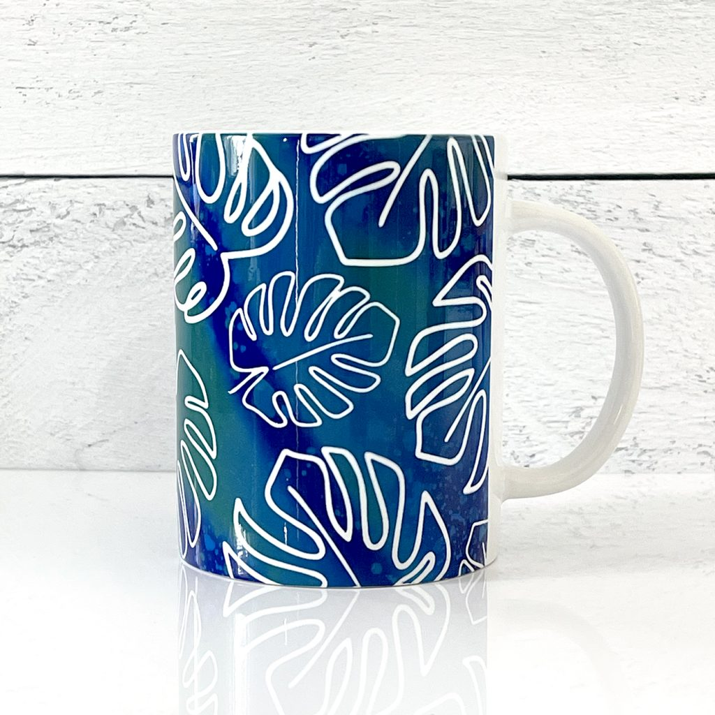 DIY Cricut Infusible Ink Mug with FREE Tropical Monstera Leaves Mug Wrap SVG FIle