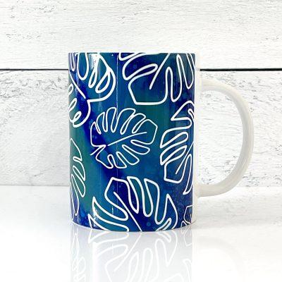 Free Monstera Mug Wrap SVG File