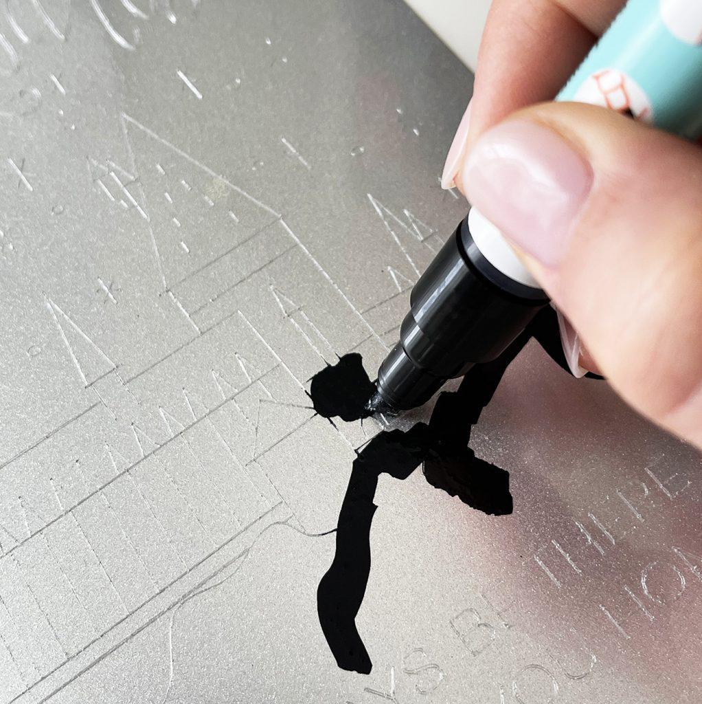 Enamel Marker on Cricut Engraving Tool Harry Potter Project