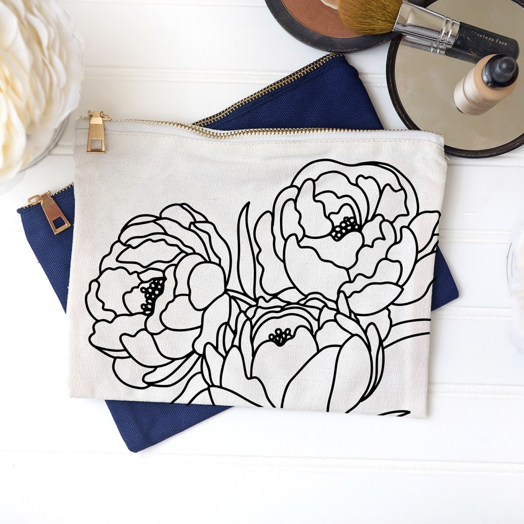 DIY Canvas Makeup Bag with Free Peony Bouquet SVG File in Black Iron On Vinyl