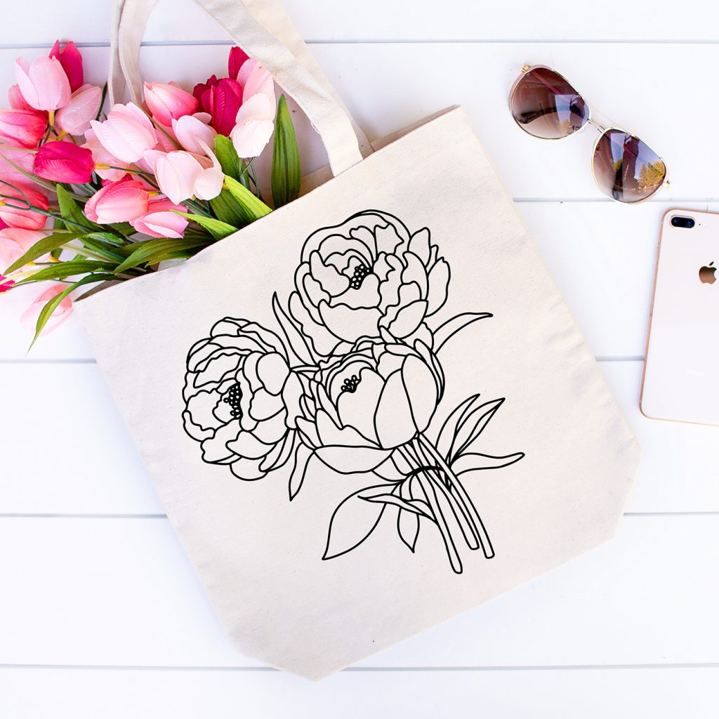 DIY Flower Canvas Tote with Peony Bouquet SVG File in Black HTV Iron On Vinyl and Pink Flowers and Sunglasses