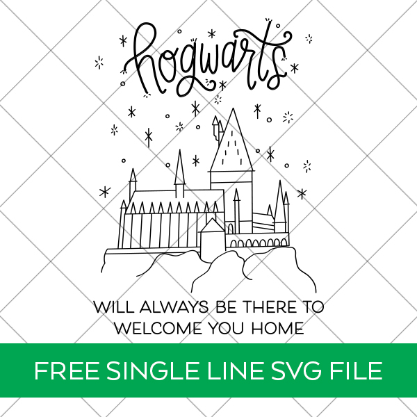 Free Harry Potter Hogwarts Single Line SVG for Cricut Engraving Tool