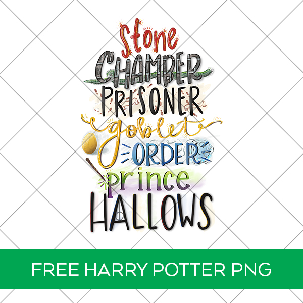 Free Harry Potter Book Titles PNG File for sublimation or printables