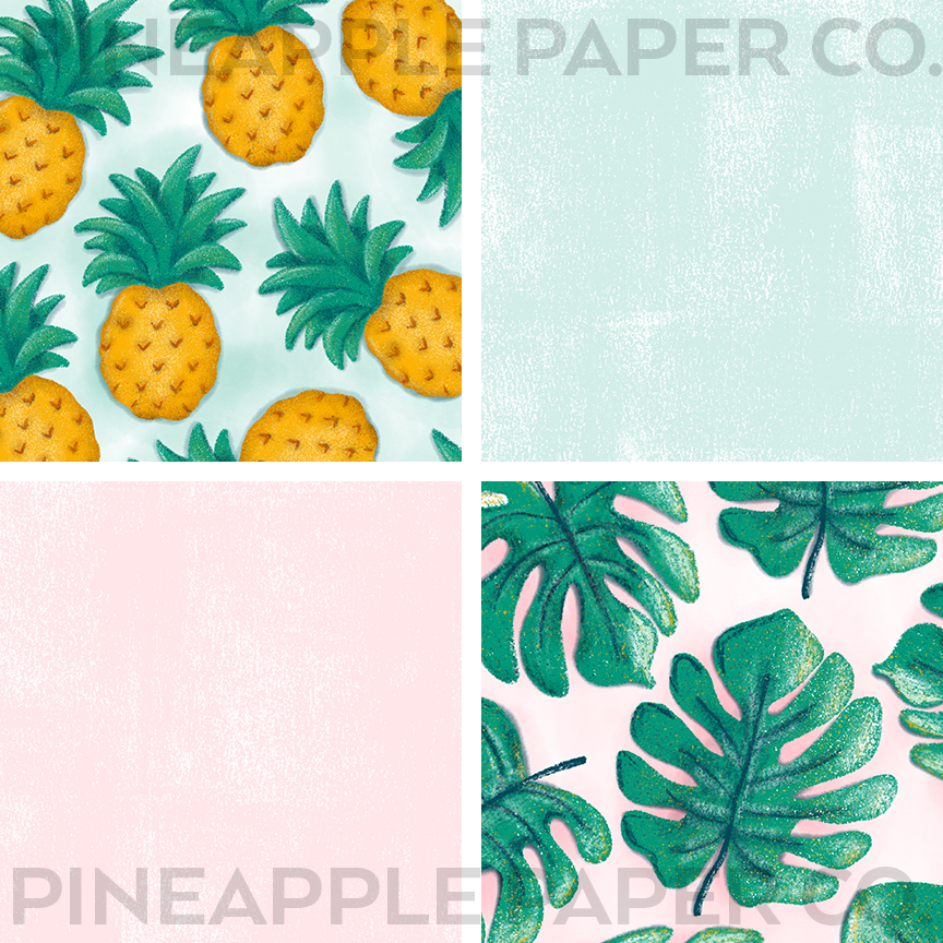 4 sample iphone summer aesthetic app icons including pineapple, monstera, green, pink