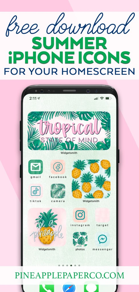Free Download Summer iphone icons - iphone with tropical aesthetic app icons and widget icons