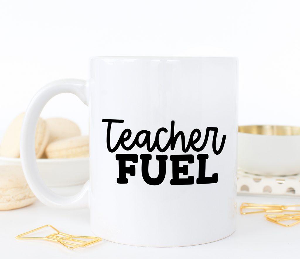 DIY Teacher Coffee Mug with Free Teacher Fuel SVG File