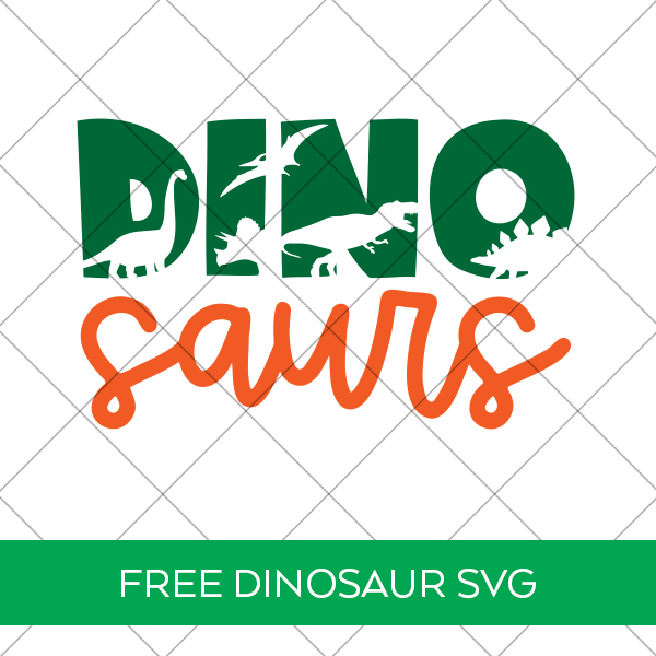 Free Dinosaurs SVG at Pineapple Paper Co. in Green and Orange behind Grid Watermark