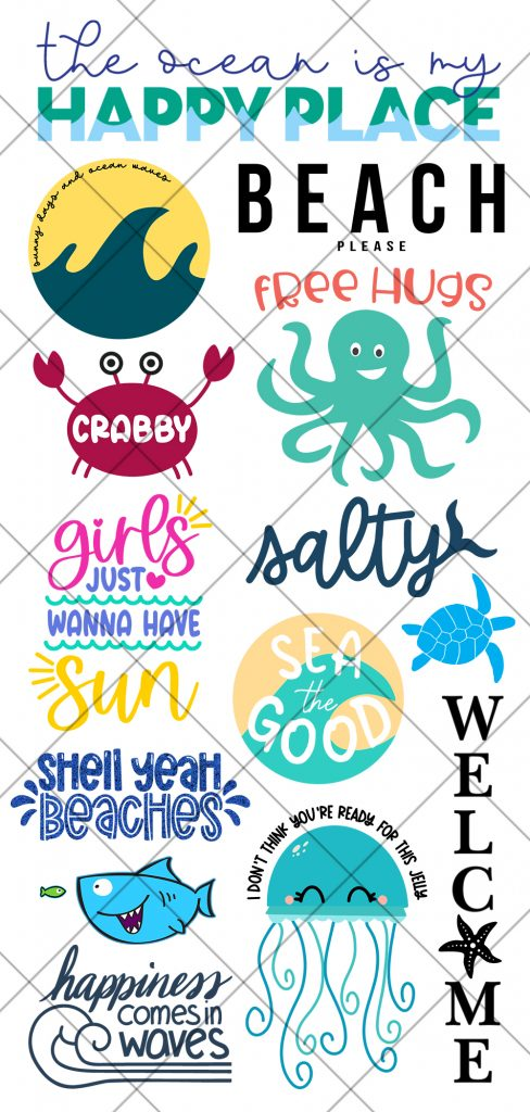 Free Beach Themed SVG Files with examples and security grid