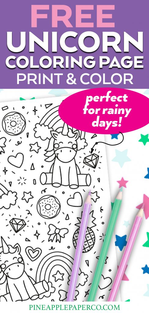 Free Unicorn Printable Coloring Page to print at home for rainy days