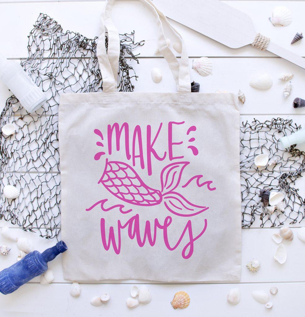 Free Make Waves SVG on Tote Bag