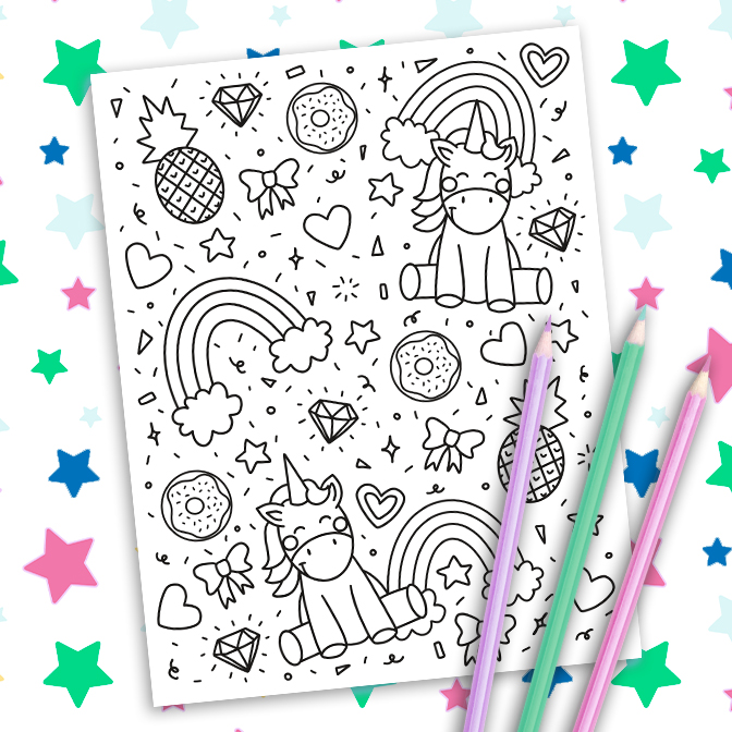 Unicorn Coloring Page Free Printable on Paper Background with Colored Pencils