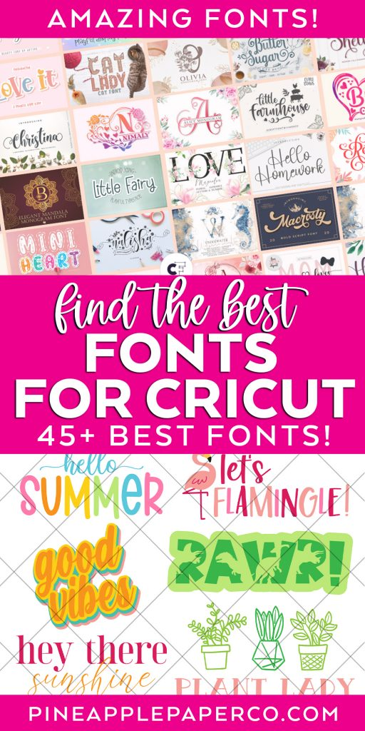Best Fonts for Cricut and Cricut Design Space with SVG Design Examples