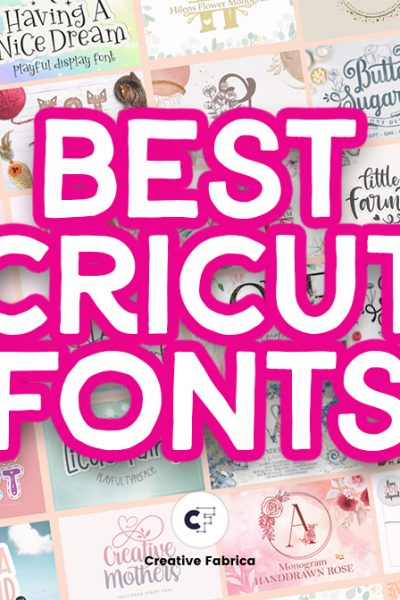 best cricut fonts with font examples in backgroun
