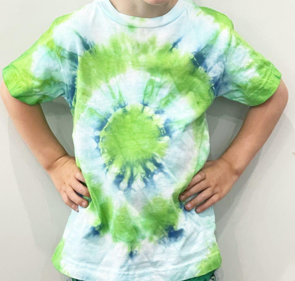 Bullseye Tie Dye Shirt in Blue and Green on Toddler Boy