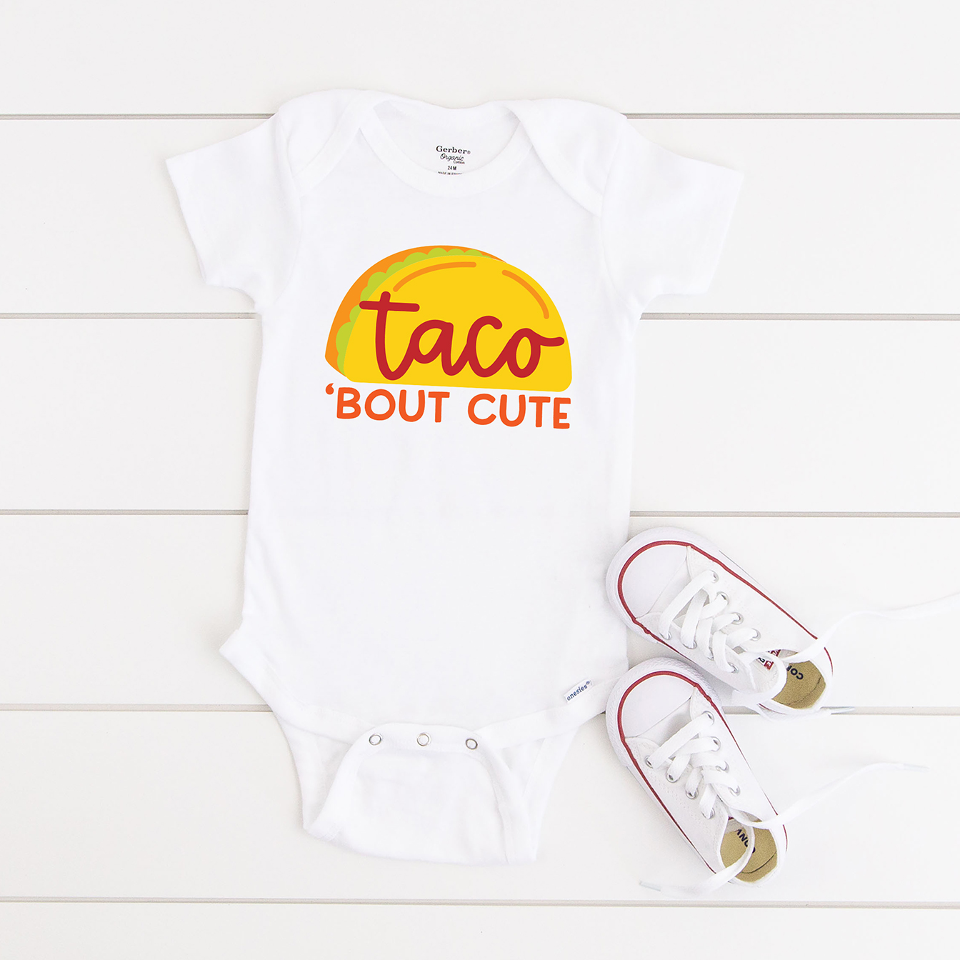 Taco Bout Cute FREE SVG on White Onesie