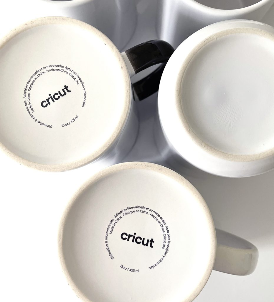 Cricut and Off Brand Blank Sublimation Mugs with Logo