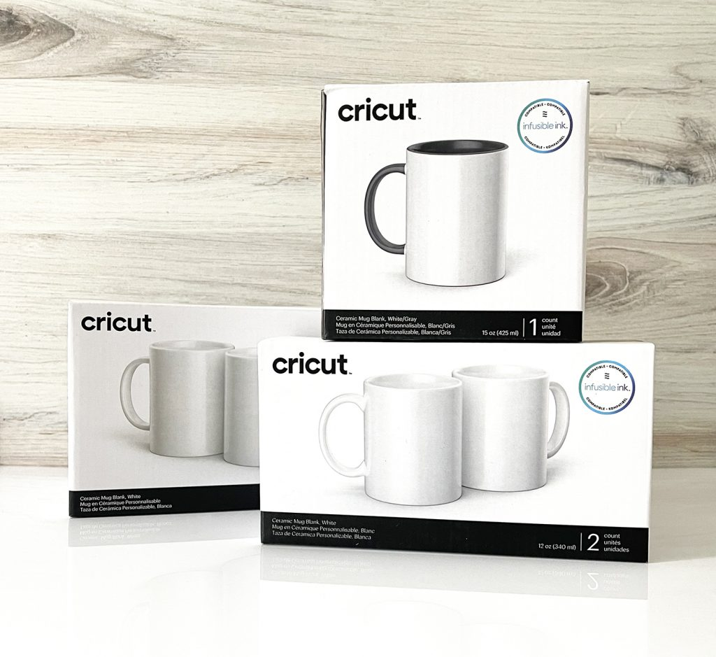Cricut Infusible Ink Sublimation Blank Mugs Stacked in Boxes