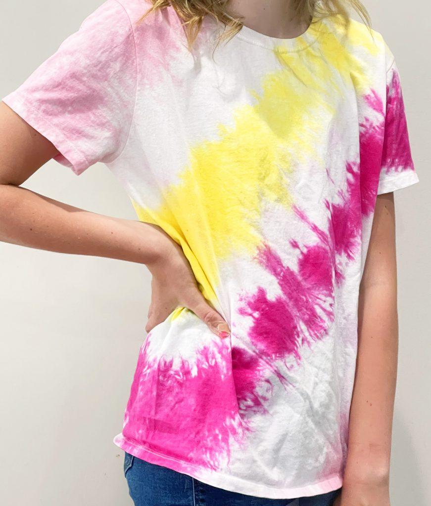 Pink and Yellow DIY Diagonal Tie Dye Striped Shirt