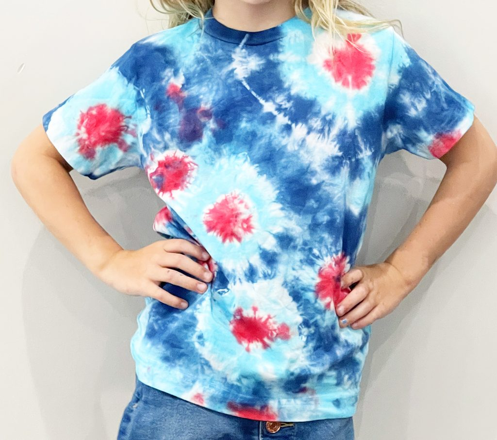 Patriotic Red White and Blue Fireworks Tie Dye Shirt