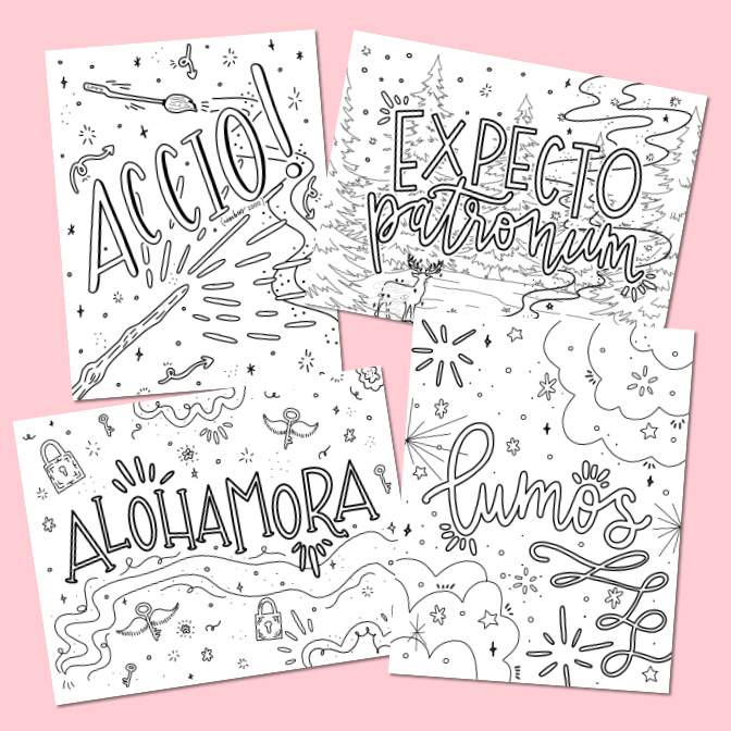 4 Free Harry Potter Coloring Pages with Spell Designs