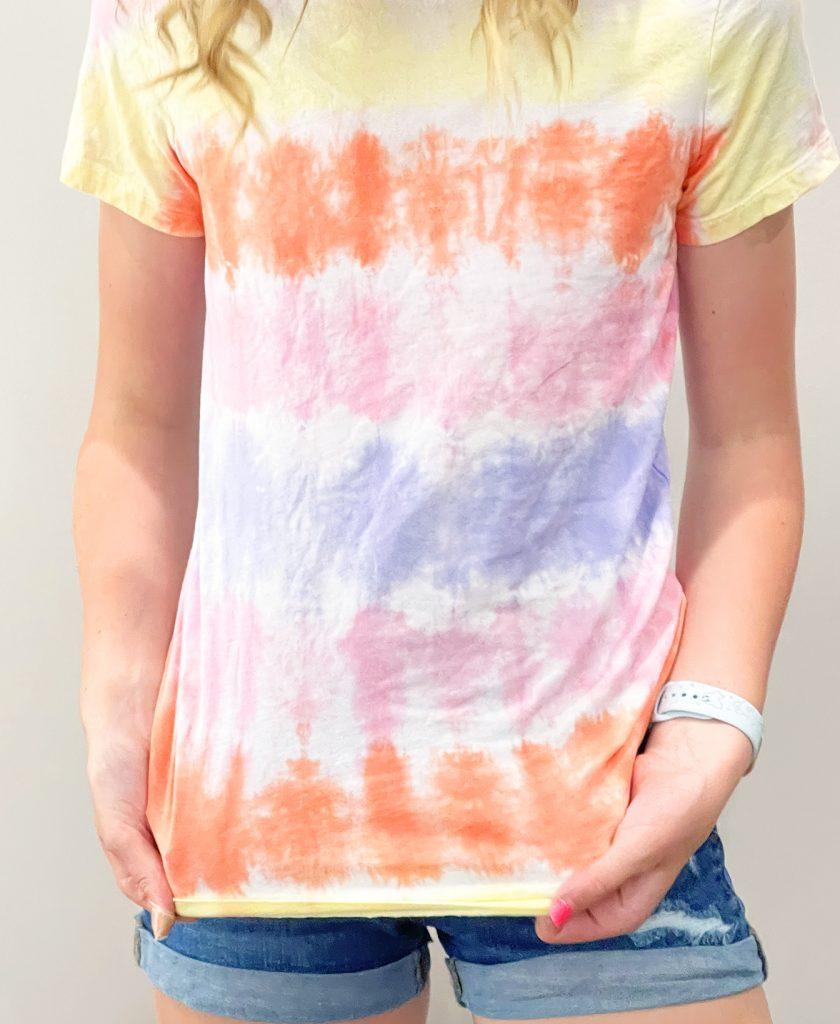 Pastel Horizontal Striped Tie Dye Shirt on Girl