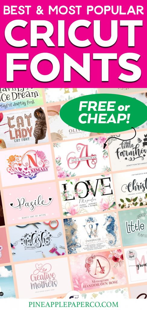 Download the best free or cheap Cricut fonts