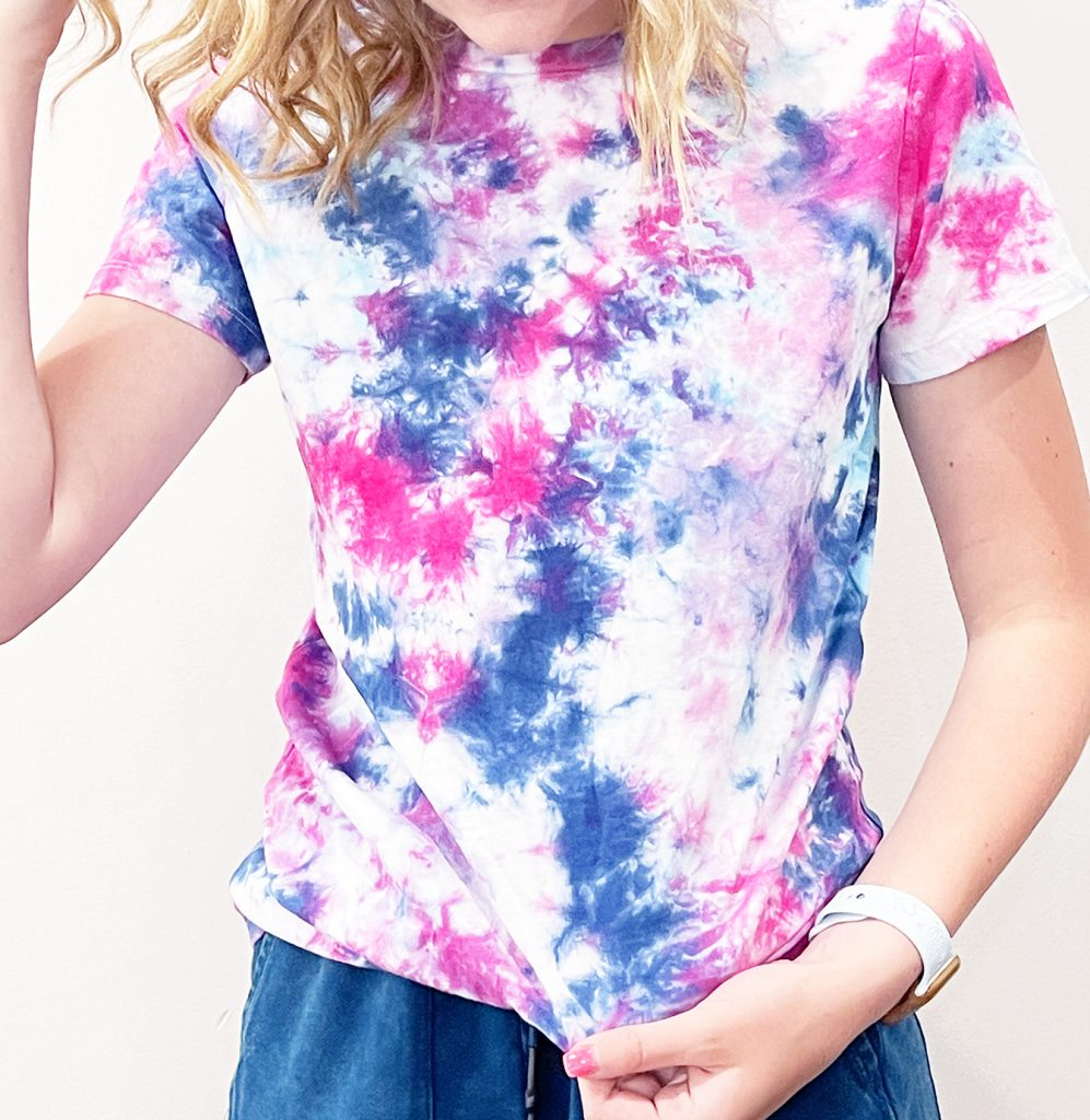 Pink Purple and Blue Scrunch Tie Dye Shirt on Girl