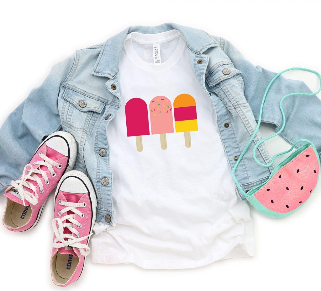 Summer Popsicle SVG on White Shirt