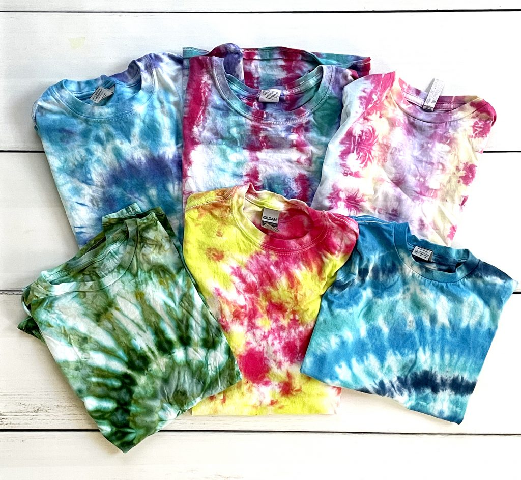 Variety of 6 Tie Dye Shirt Patterns and Colors