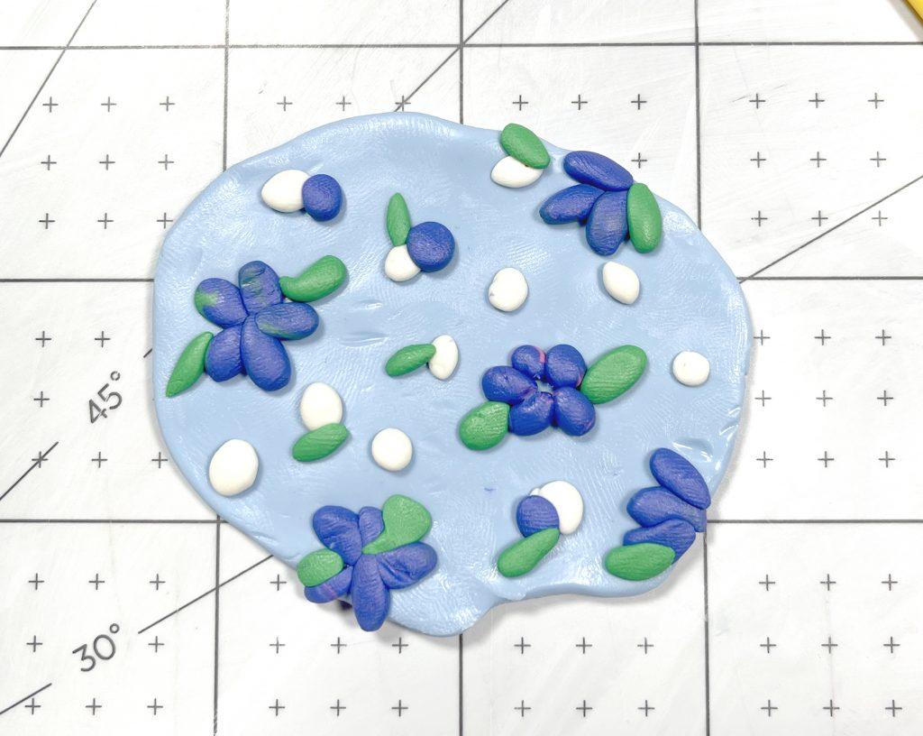 Blue Floral Patterned polymer Clay Slab