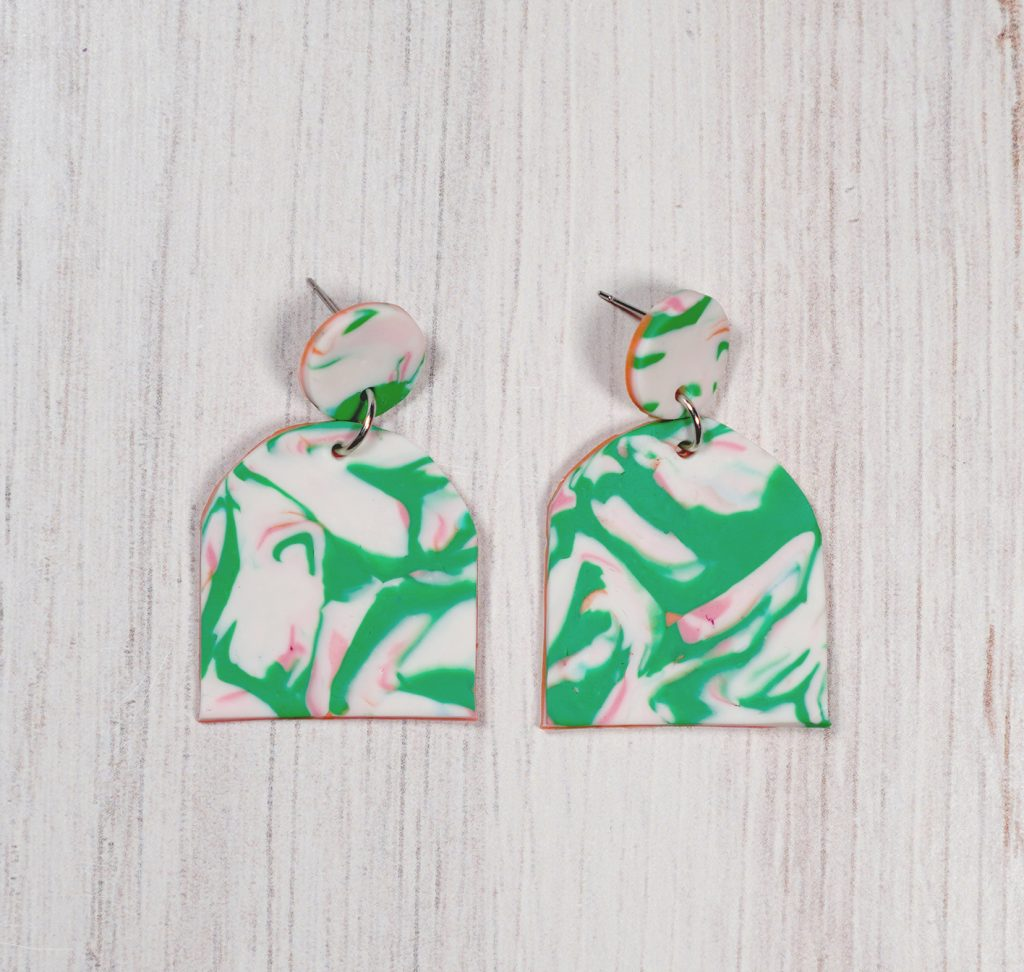 abstract marble polymer clay earrings with scrap pieces