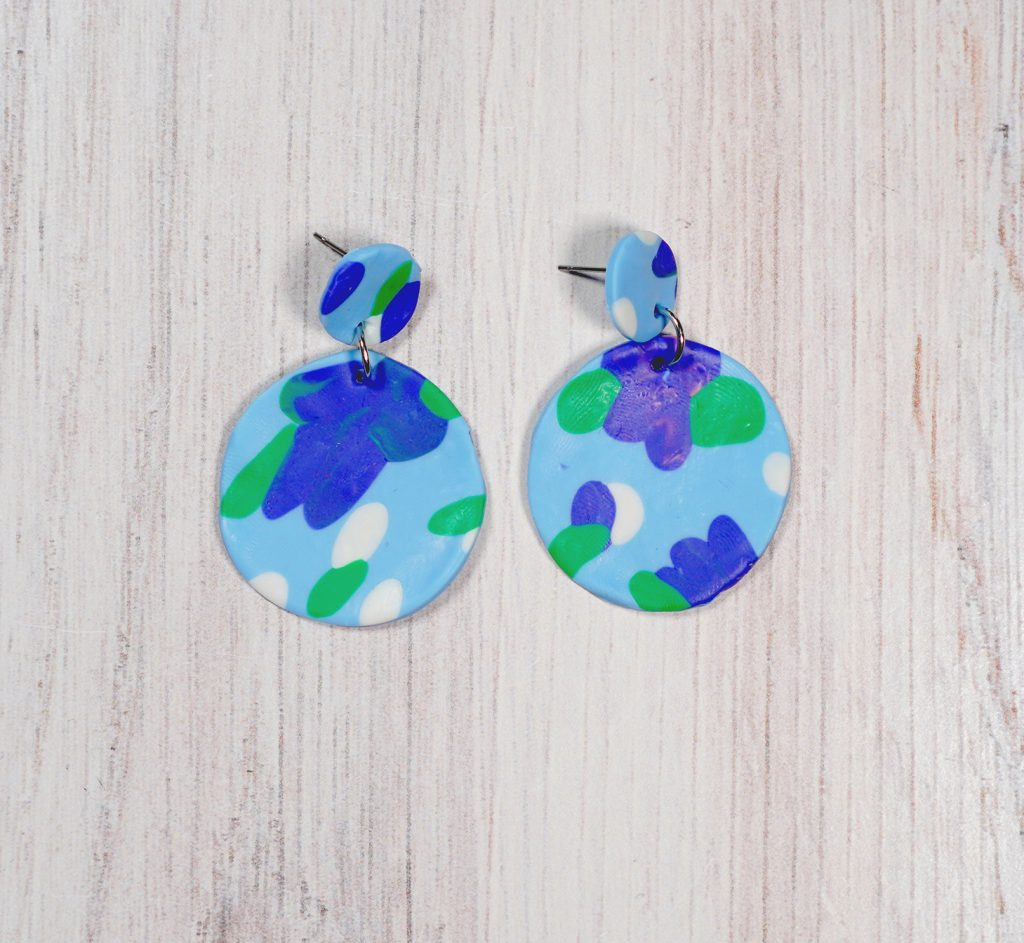 blue floral polymer clay circle earrings