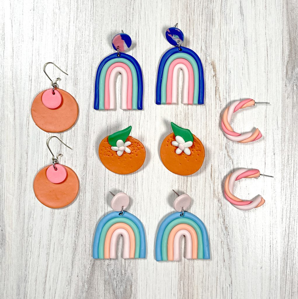 polymer clay earrings with tutorials