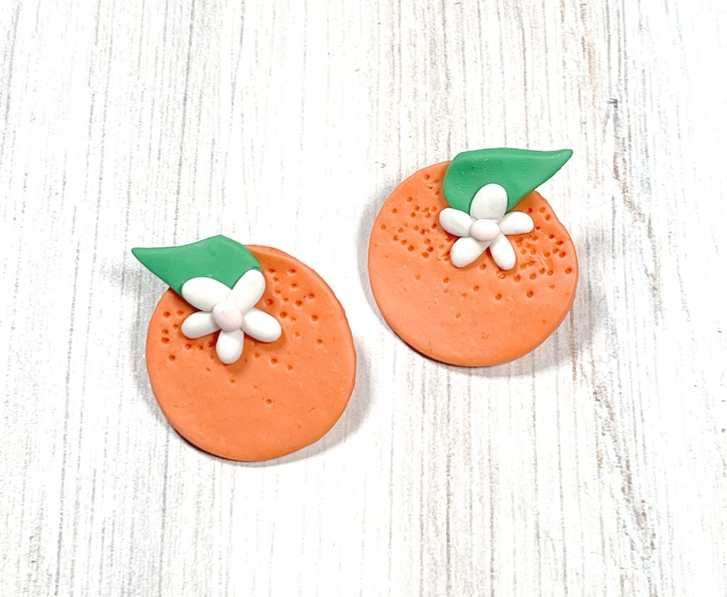 polymer clay orange shaped earrings