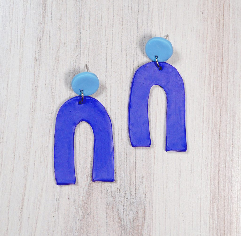 blue arch polymer clay earrings