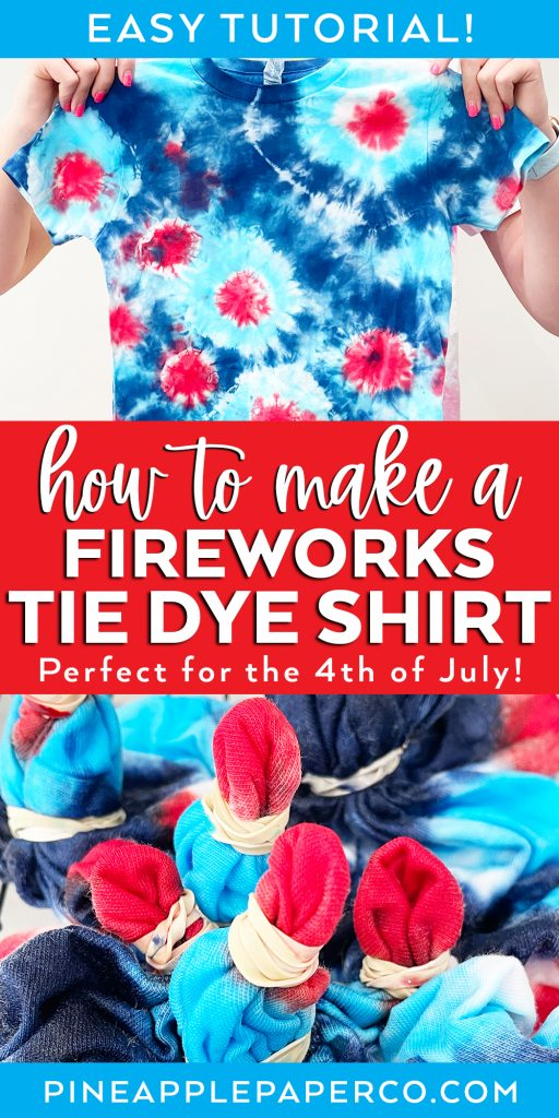 how to make a fireworks tie dye shirt for the 4th of july with process and finished view